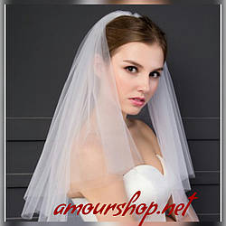 Фата средняя для невесты белая, молочная, пудра