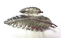 Краб металлический, серебристый листик
