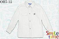 Рубашка с принтом  с длинным рукавом для дошкольника Чайка р.98,122 SmileTime, белая