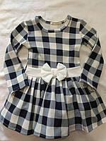 Платье для девочки 3-6 лет с длинными рукавами в клетку из синего с белым цвета и бантом оптом