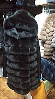 Меховая жилетка из финского песца с кожаными рукавами 90 см горький шоколад