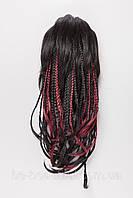 Шиньон-накладка с косичками,цвет мелирование черный с красным