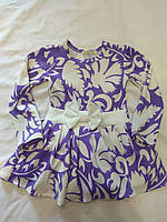 Платье для девочки 3-6 лет с длинными рукавами сиреневого цвета с белыми цветами и бантом оптом