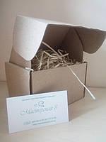 Коробка крафт для подарка с древесной стружкой 120*100*80 мм, для сувенира, для мыла, косметики, пряника