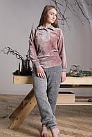 Женская пижама-домашний костюм с длинными рукавами теплая из велсофта