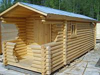 Баня деревянная мобильная 6х2,35 Деревянная баня из оцилиндрованного бруса