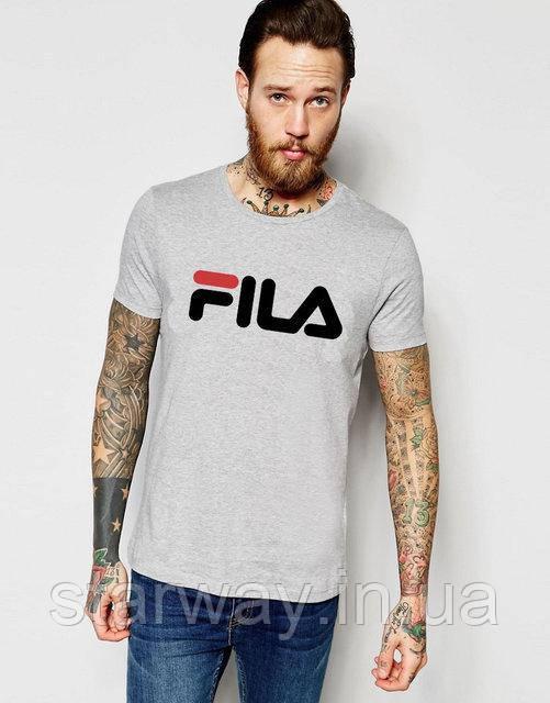 Футболка серая топ Fila logo | Стильная