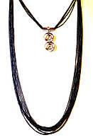 Длинное украшение на шею, красивые нити, черное