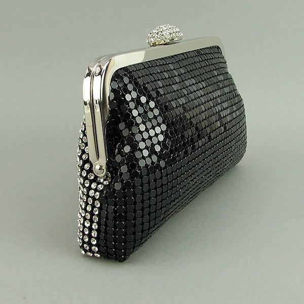 f4656512d1f2 Клатч из камней женский вечерний выпускной черный с белыми камнями Rose  Heart 0726, ...