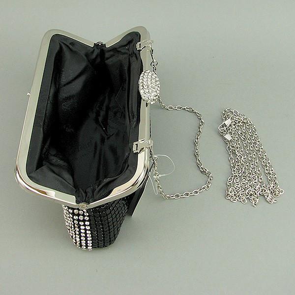 9daab2065545 ... Клатч из камней женский вечерний выпускной черный с белыми камнями Rose  Heart 0726, ...