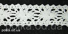 Вязаное кружево -ширина 2см,цвет белый (1уп-45м)
