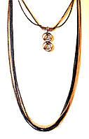 Длинное украшение на шею, красивые нити, черно-золотистое