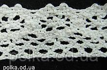 Вязаное кружево -ширина 3см,цвет белый (1уп-45м)