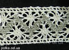 Вязаное кружево -ширина 3.2см,цвет молочный/серы й (1уп-45м)