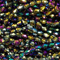 КАПЛЯ Малая бусины хрусталь 7х5мм пачка - 70 шт, цвет - радужное напыление