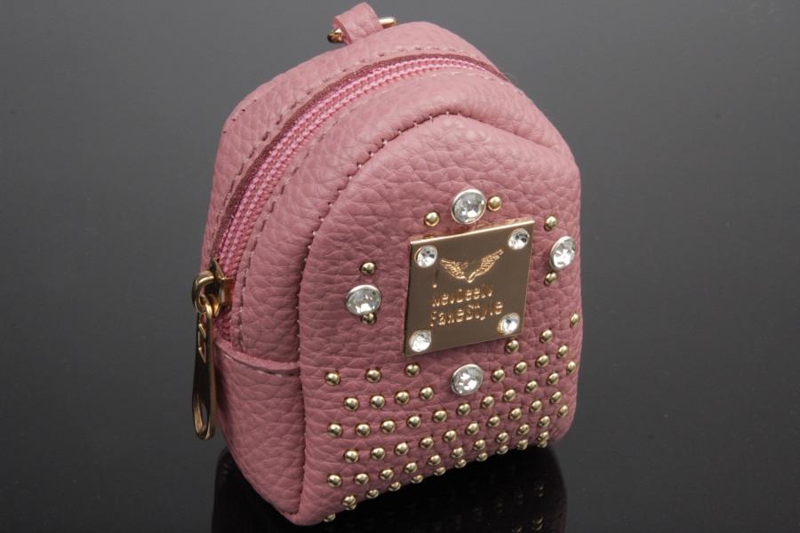 Брелок/кошелек рюкзак с заклепками и стразами