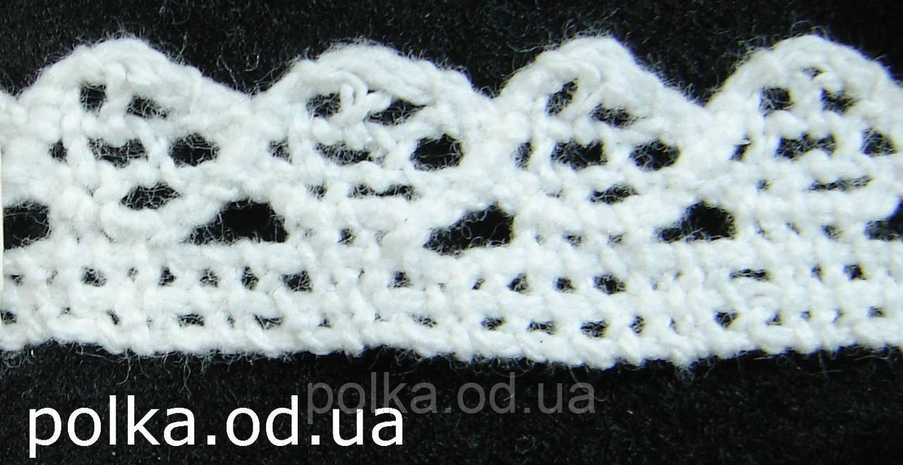 В'язане мереживо -ширина 1.5 см,колір білий (1уп-45м)