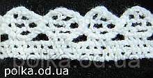 Вязаное кружево -ширина 1.5см,цвет белый (1уп-45м)