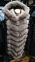 Меховая жилетка из финского песца с кожаными рукавами 90 см капучино