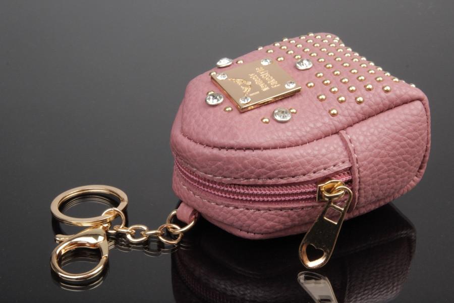 Брелок/кошелек рюкзак с заклепками и стразами розовый