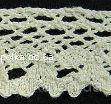 Вязаное кружево -ширина 2.5см,цвет молочный(1уп-45м)