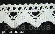 Вязаное кружево -ширина 2см,цвет белый(1уп-45м)