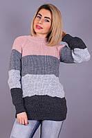 Комбинированный вязаный женский свитер Катя светло-серый
