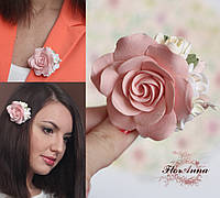 """Заколка/брошь """"Персиковая роза с фрезиями"""". Подарок девушке, женщине"""