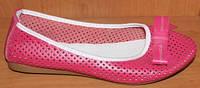 Балетки летние женские розовые кожаные модель Р1215