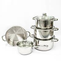 Набор посуды Giakoma 9 предметов (3 кастрюли, ковш, сотейник 4 стеклянные крышки
