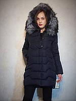 Модный, стильный и женственный пуховик - парка c шикарным мехом чернобурки Jarius  Размеры в наличии:42-50
