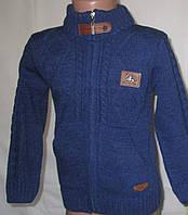 Кофта вязанная синяя на мальчика. Размер: 4-5 лет, 6-7 лет.
