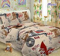Детский постельный комплект Musik ТМ TAG поплин полуторный 150х220