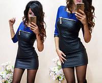 Короткое женское платье из экокожи