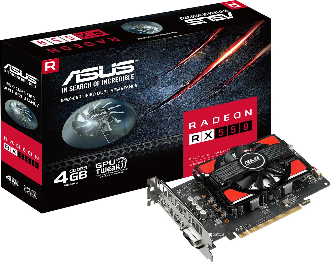 "Видеокарта Asus RX 550 4GB GDDR5 128bit (RX550-4G) ""Over-Stock"""
