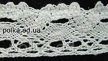 Вязаное кружево -ширина 2.5см,цвет белый(1уп-45м)