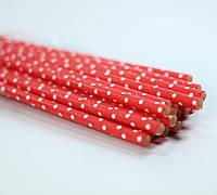 Трубочки для напитков бумажные красные, 25 штук