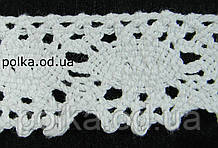 Вязаное кружево -ширина 2.5см,цвет белый (1уп-45м)