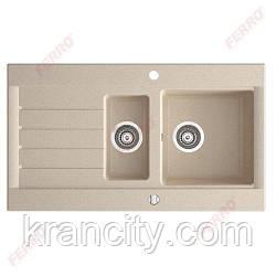 Гранитная мойка для кухни , врезная, двухкамерная, песок FERRO OZZY DRG52/91S,Польша