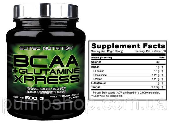 Бцаа+глютамін Scitec Nutrition BCAA+Glutamine Xpress 600 г, фото 2
