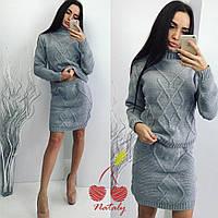 Женский теплый вязаный костюм юбка+свитер. Ткань: шерсть с акрилом. Размер: 42-48.