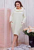 Женская длинная махровая туника для дома домашнее платье с карманами молочная батал большие размеры