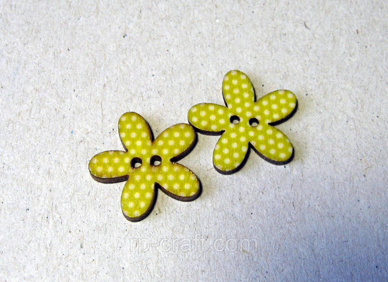 Пуговица деревянная, декоративная.  Цветок в горошек