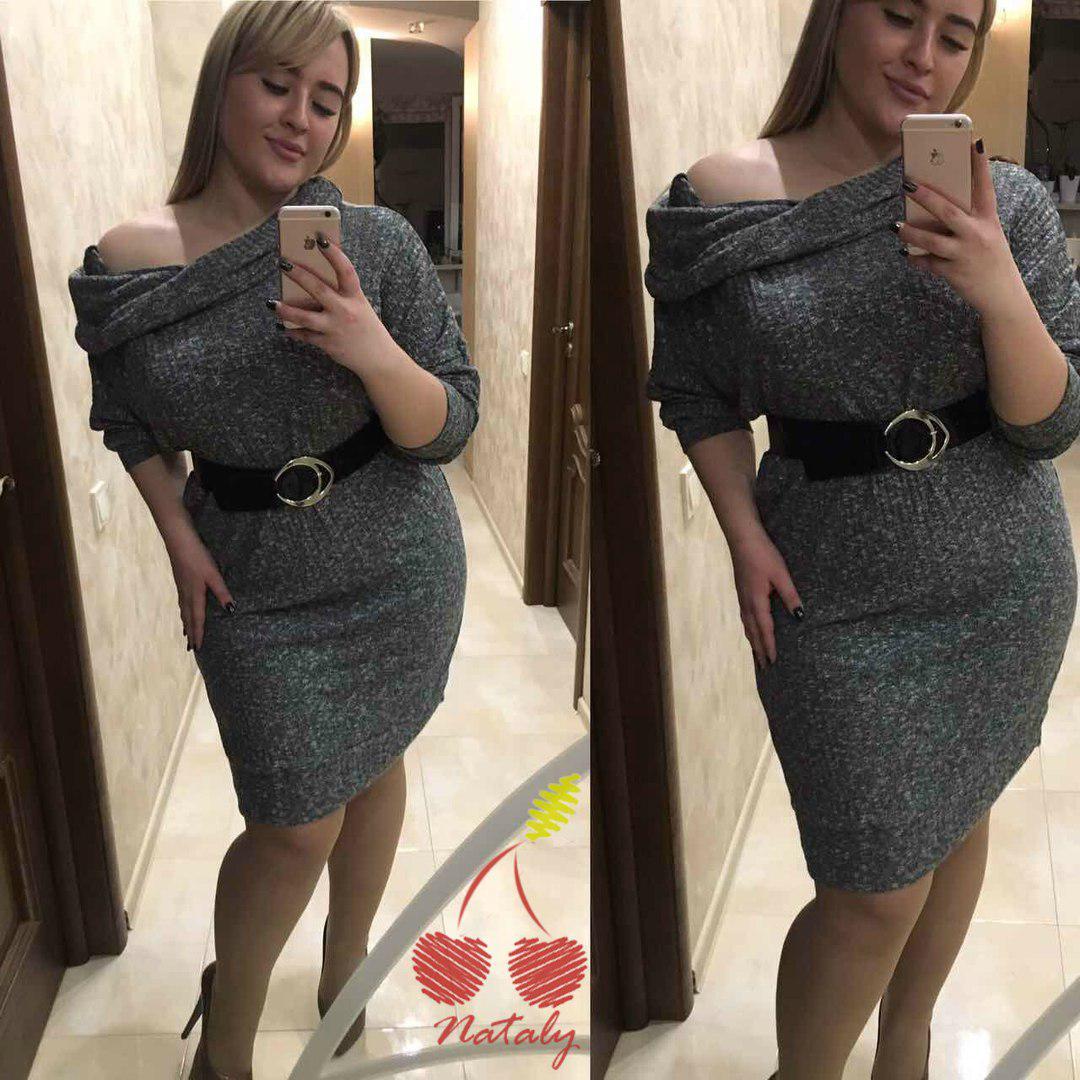 5ba6bc863a07 Женское серое трикотажное платье с открытыми плечами. Ткань  трикотаж.  Размер  42-44,46-48,50-52,54-56.