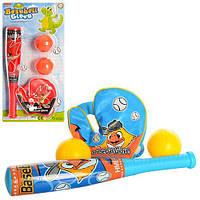 Бита M 3032 (24шт) бейсбольная, 31,5см, перчатка, мячик 6см 2шт, 2 вида, на листе, 21-42,5-6см
