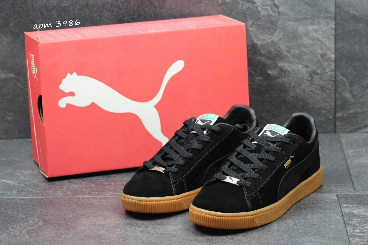 acb211ed508df1 Купить Мужские кроссовки Puma Suede черные , замш ( подошва резина ...