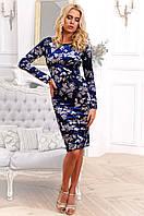 Стильное велюровое принтованое платье 90261