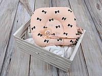 Детская подушка для новорожденных с держателем, бантики на пудре