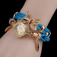 Наручные часы женские с голубым ремешком Золотая бабочка код 331