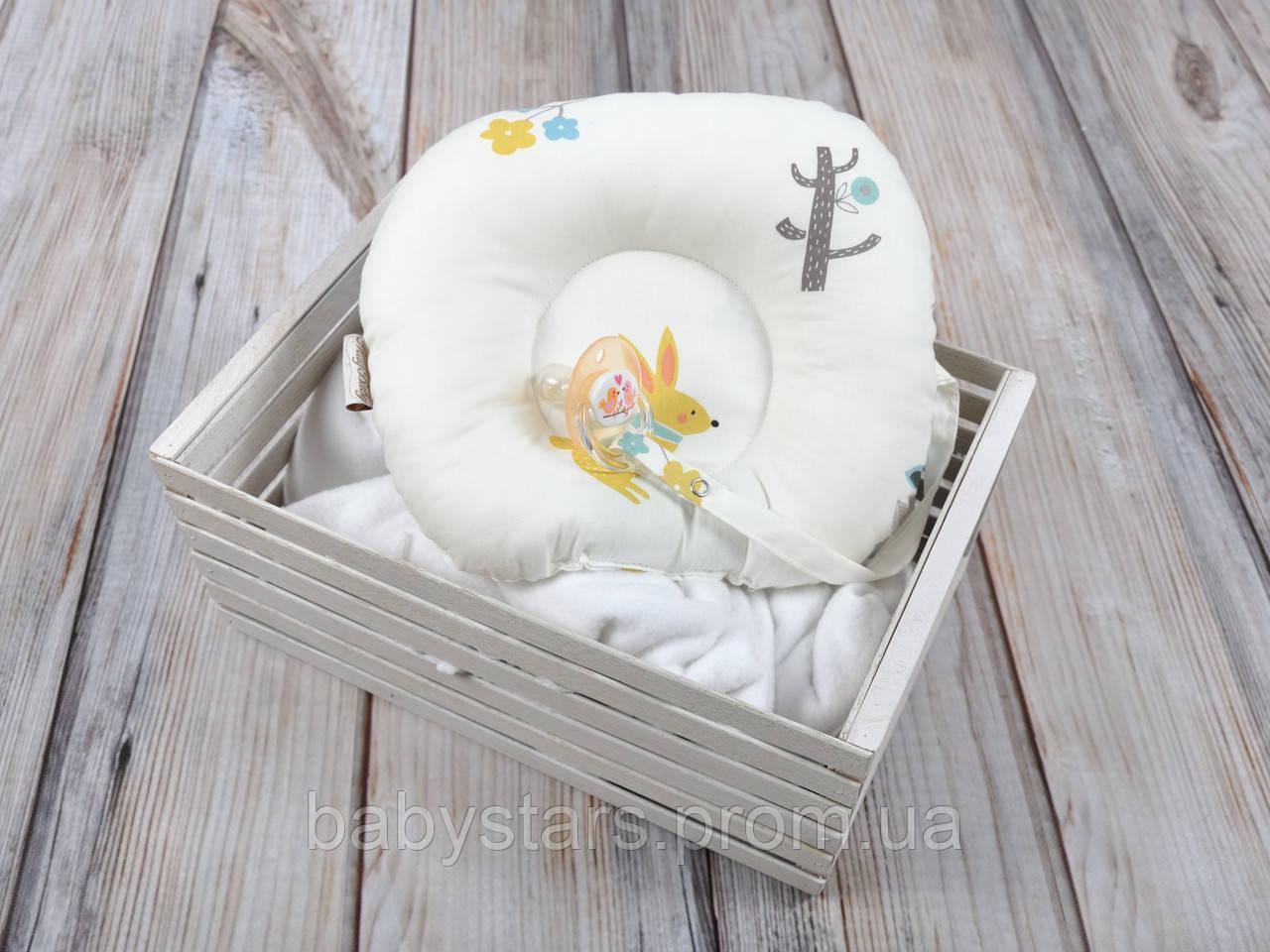 Детская подушка для новорожденных с держателем для пустышки, Лесные жители